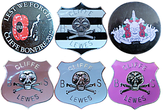 Cliffe Bonfire Society CBS Badge Lewes Sussex Night Tin Enamel Metal Celebration