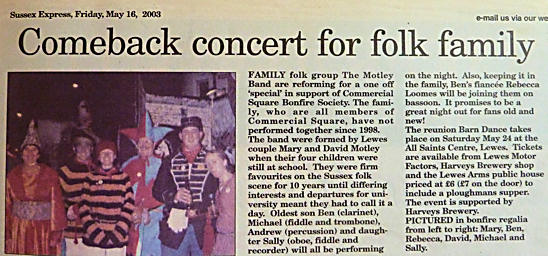 Comeback Concert Folk Family Lewes Sussex Express 2003