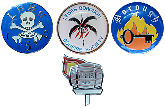 Lewes Borough Bonfire Society LBBS Badge Sussex Night Tin Enamel Metal Celebration