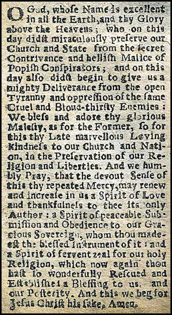Prayer Book Collect 5th November 1606