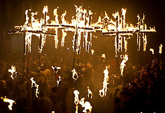 Seventeen Martyrs Burning Crosses Lewes Bonfire Night Firework Guy Fawkes